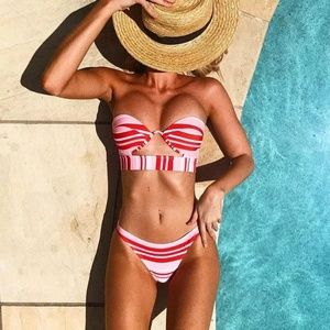 New Pink Striped Push Up Underwire Top Bikini Set